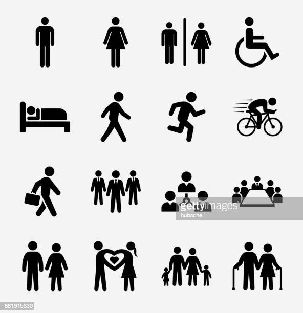 People and Modern Life Icon Set on Light Background