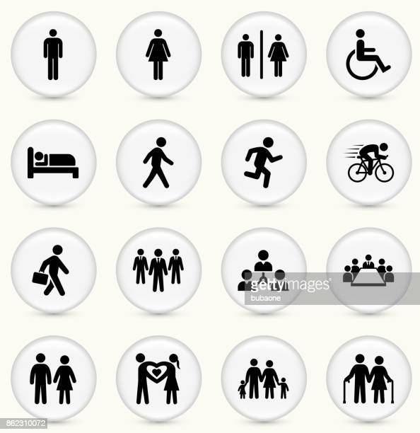 People and Modern Life Icon Set on Round White Buttons