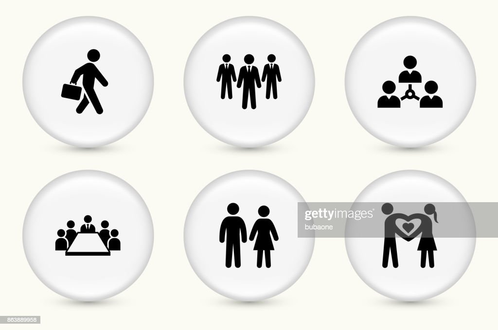 People and Modern Life Icon Set on Round White Buttons : stock illustration
