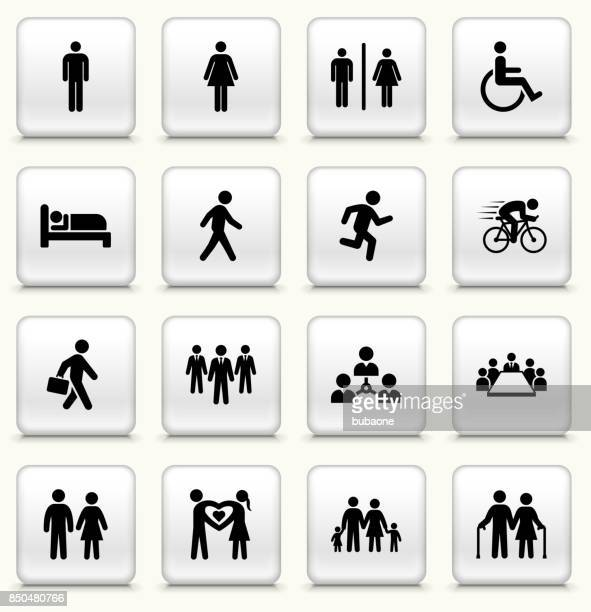 People and Modern Life Icon Set on Square White Buttons