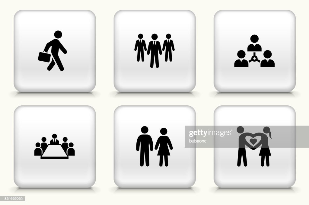 People and Modern Life Icon Set on Square White Buttons : stock illustration