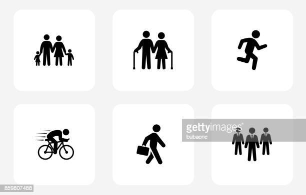 people and modern life icon set on white flat square buttons - work romance stock illustrations, clip art, cartoons, & icons