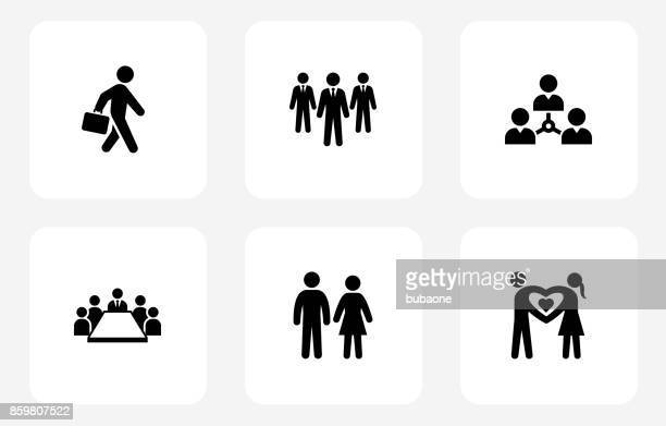 People and Modern Life Icon Set on White Flat Square Buttons