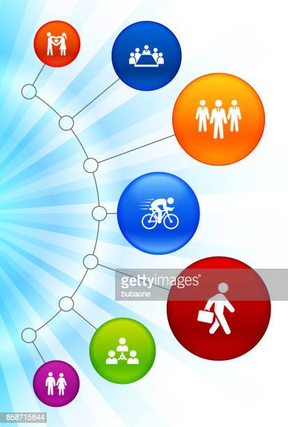 People and Modern Life Icons Glowing Colorful Background