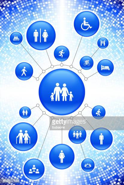 people and modern life icons on blue buttons - work romance stock illustrations, clip art, cartoons, & icons