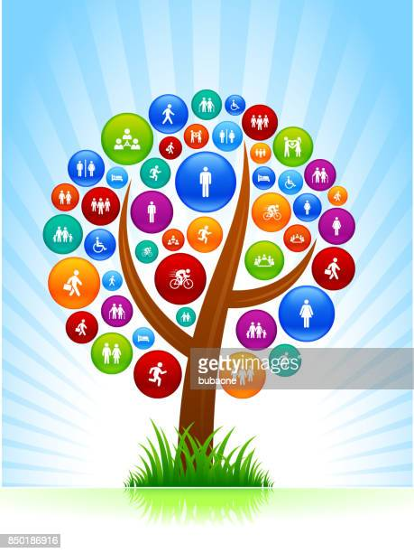 people and modern life icons on tree and sky background - work romance stock illustrations, clip art, cartoons, & icons