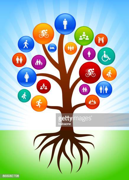 People and Modern Life Icons on Tree and Sky Background