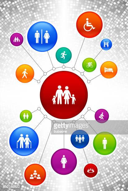 People and Modern Life Icons on Vertical Color Button Background