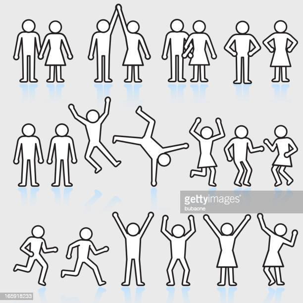ilustraciones, imágenes clip art, dibujos animados e iconos de stock de personas y fiesta stick figura conjunto de iconos vectoriales sin royalties - baile moderno