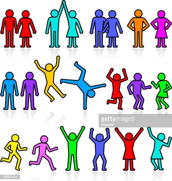 ilustraciones, imágenes clip art, dibujos animados e iconos de stock de personas y fiesta stick figura de vector icono conjunto - baile moderno