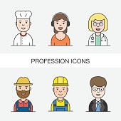 People and professions colored icons and avatars. Specialists avatars. Color filled outline icon collection. Vector illustration.
