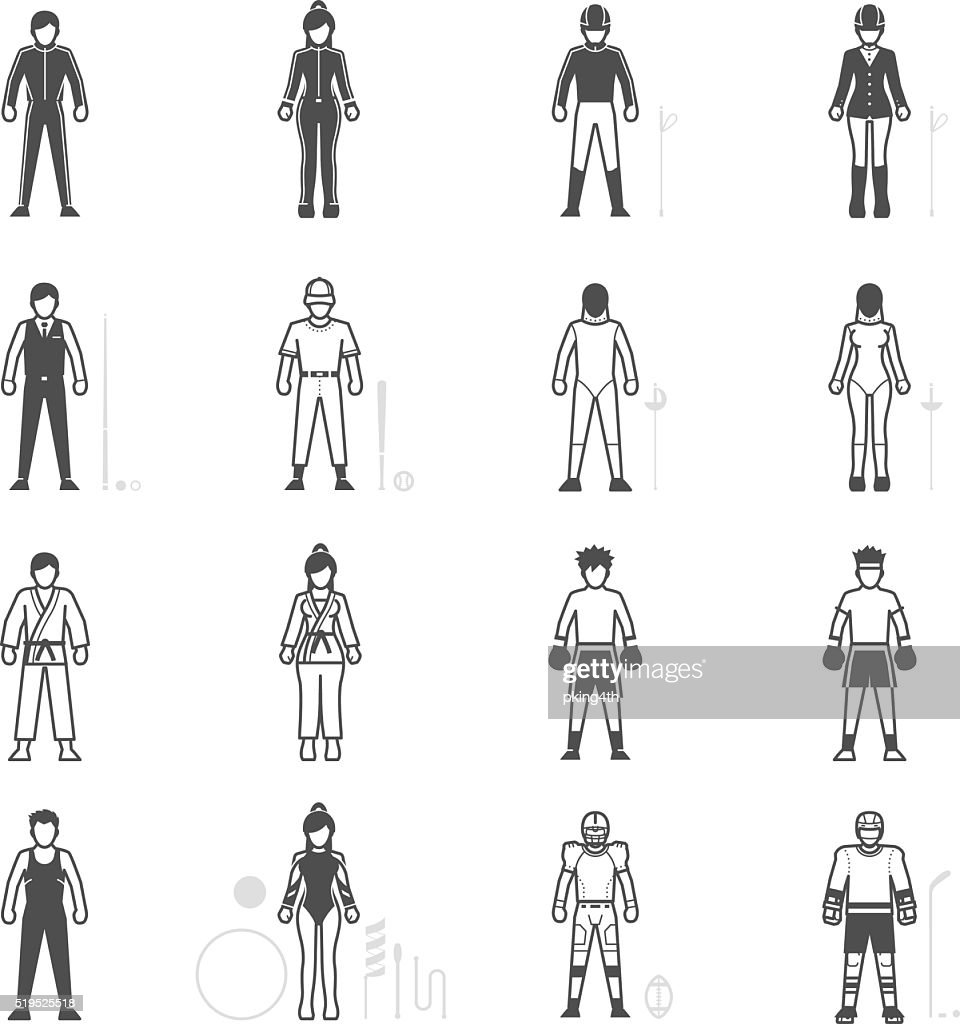 People and Sport Player icon set