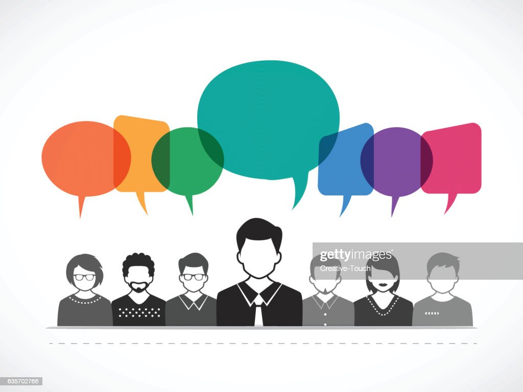 People and Talking with Colored Speech Bubbles : Vector Art