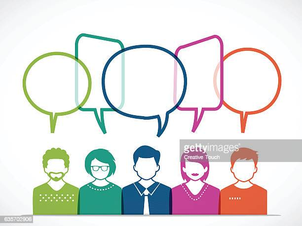people and talking with colored speech bubbles - discussion stock illustrations