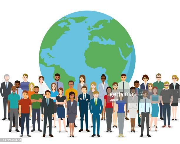 人と地球 - グローバルコミュニケーション点のイラスト素材/クリップアート素材/マンガ素材/アイコン素材