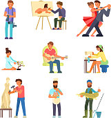 People and their hobbies vector flat illustration