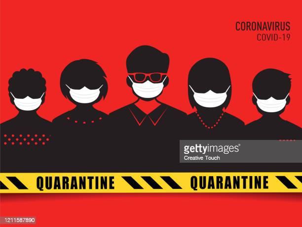 ilustraciones, imágenes clip art, dibujos animados e iconos de stock de personas y virus brote - cuarentena