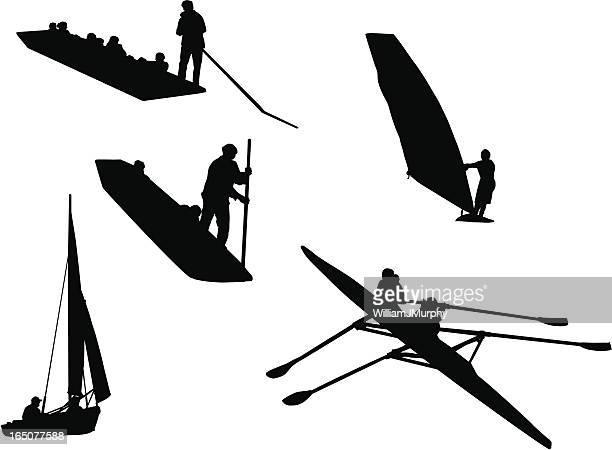 people and water (silhouette, vector drawing) - punt kick stock illustrations