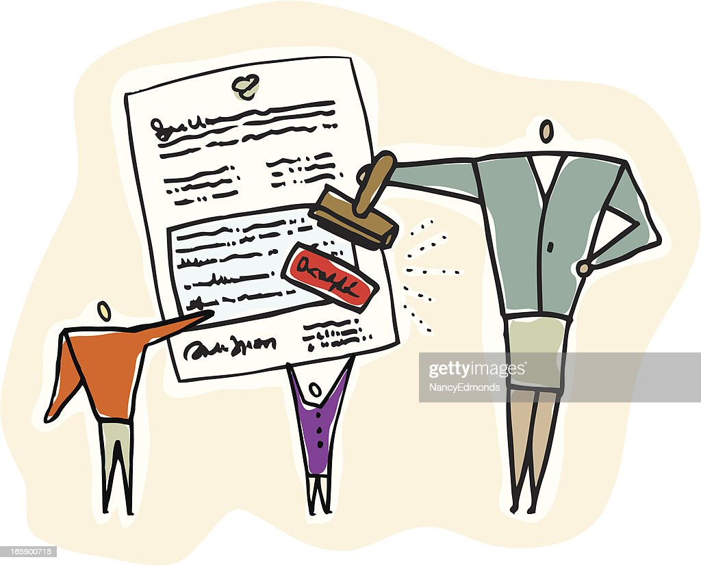 People Approving or Rejecting a Document : stock illustration