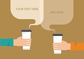 People are holding a paper cups of coffee. Communication concept