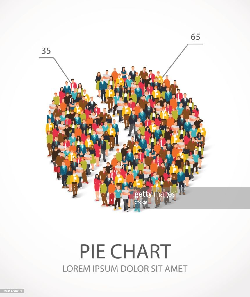 People are standing in a round chart