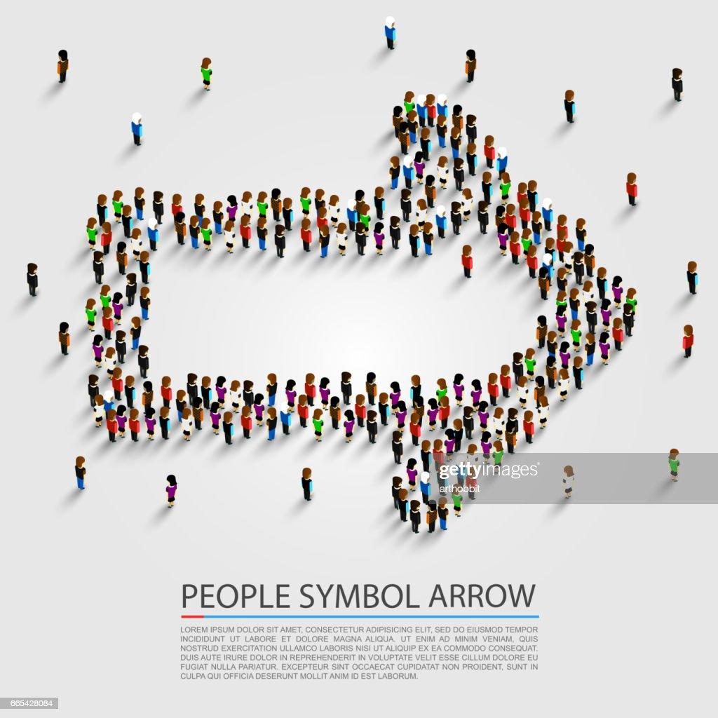 People arrow isometric, Arrow group sign, Vector illustration