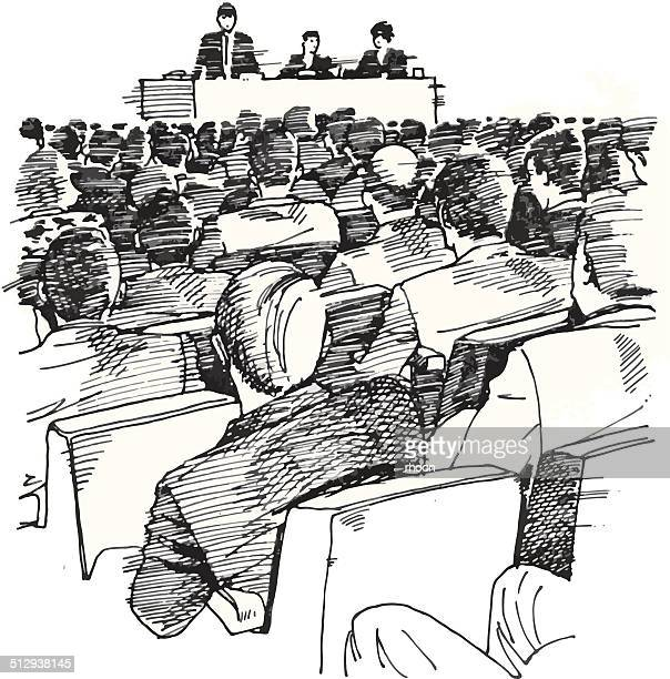 people at a meeting - political rally stock illustrations, clip art, cartoons, & icons