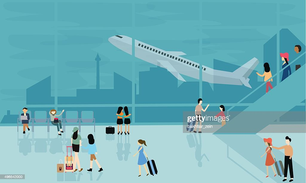 people at airport vector travel activities illustration  departure arrival  flight