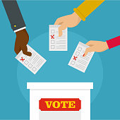 People at ballot box background, flat style