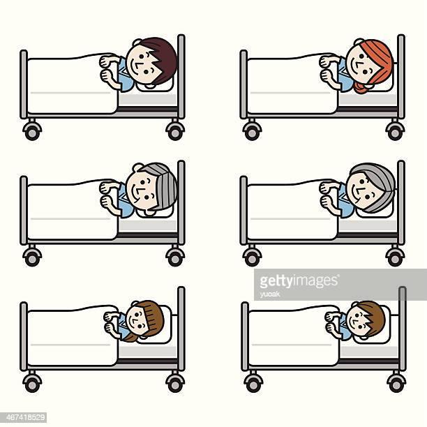 ilustraciones, imágenes clip art, dibujos animados e iconos de stock de personas en la cama de hospital - asistente de enfermera