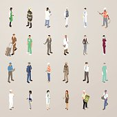 People at Work - Flat Icons Illustration