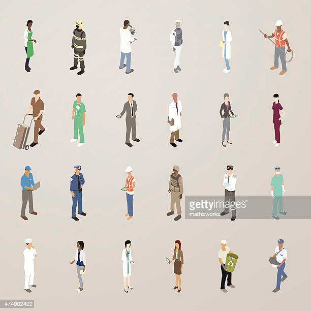 people at work - flat icons illustration - military personnel stock illustrations, clip art, cartoons, & icons
