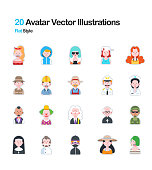 People Avatar Flat Illustration
