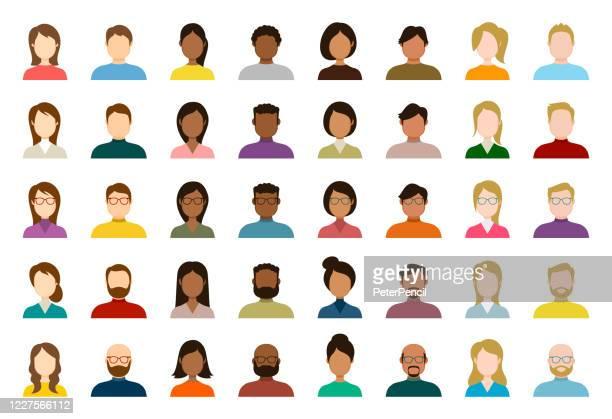 ilustraciones, imágenes clip art, dibujos animados e iconos de stock de conjunto de iconos de avatar de personas - perfil diversas caras vacías para la red social - ilustración abstracta vectorial - avatar