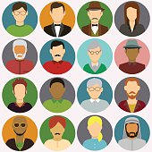 People avatar icons. People Flat Icons. Vector