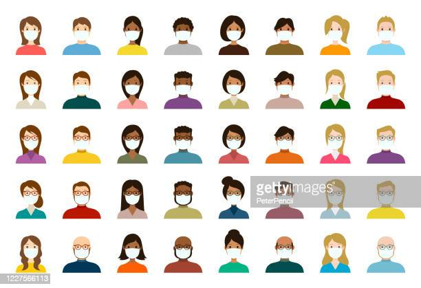 people avatar in medical masks icon set - profile diverse faces for social network - vector abstract illustration - obscured face stock illustrations