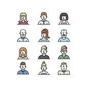 People avatar line style icons set on white background.