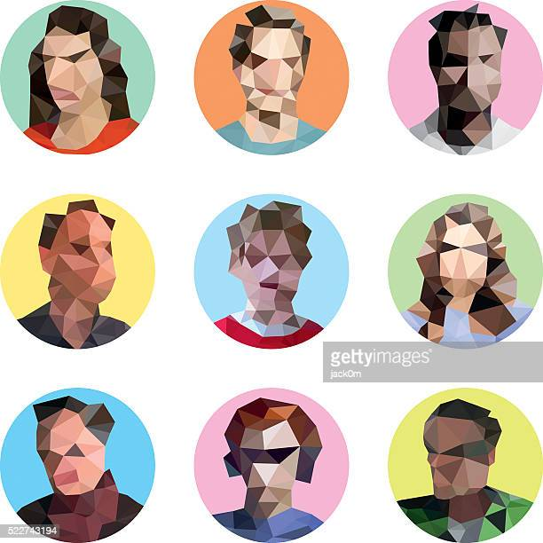 People Avatar, Polygonal Vector Icon Set