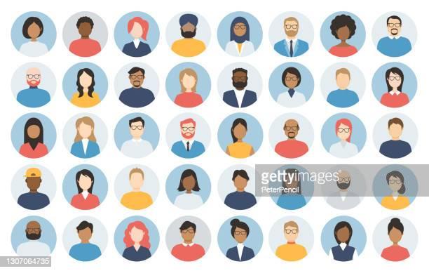 ilustraciones, imágenes clip art, dibujos animados e iconos de stock de people avatar round icon set - perfil diverse empty faces for social network - ilustración abstracta vectorial - rondas deportivas