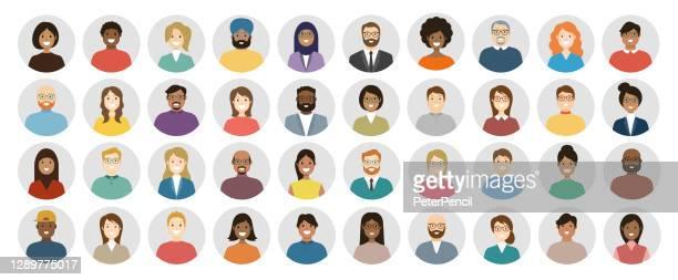 illustrazioni stock, clip art, cartoni animati e icone di tendenza di people avatar round icon set - profilo volti diversi per il social network - illustrazione astratta vettoriale - gruppo multietnico