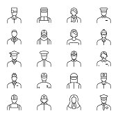 People Avatars Characters Staff Black Thin Line Icon Set. Vector