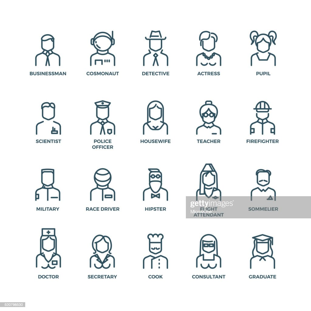 People avatars, characters staff, professions. Vector linear icons