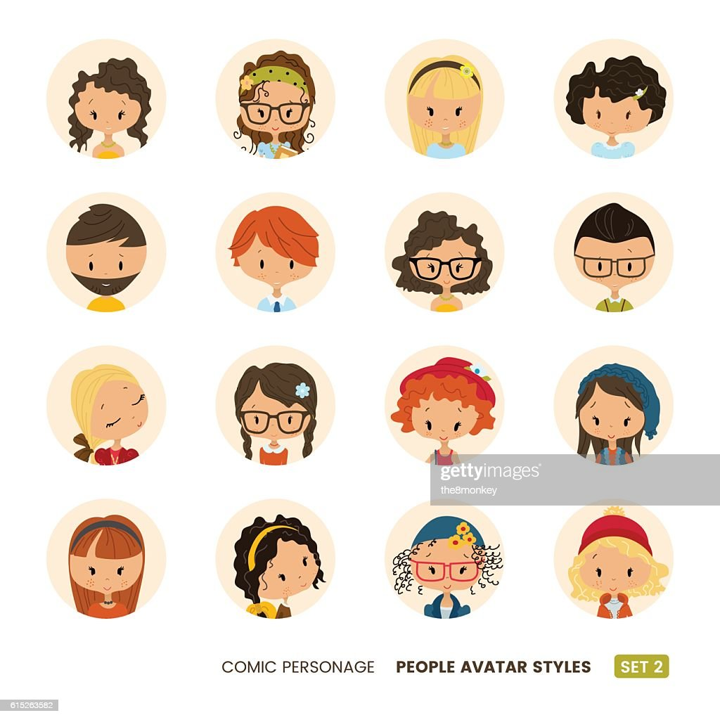 People avatars collection. Comic personage. Girls and boys. Hipster look