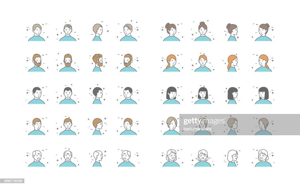 People Avatars Collection Vector. Default Characters Avatar. Cartoon Line Art Illustration