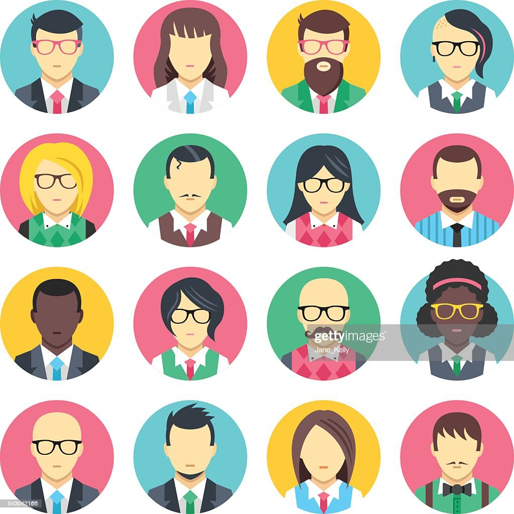People avatars set. Flat design people icons set. Vector icons