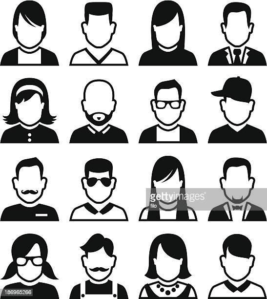 people avatars - human hair stock illustrations, clip art, cartoons, & icons