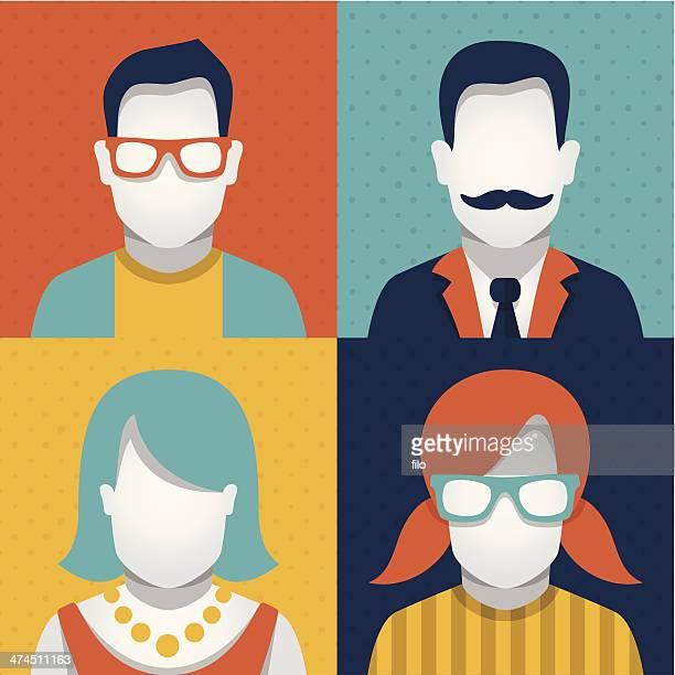 ilustraciones, imágenes clip art, dibujos animados e iconos de stock de personas avatars - bigote