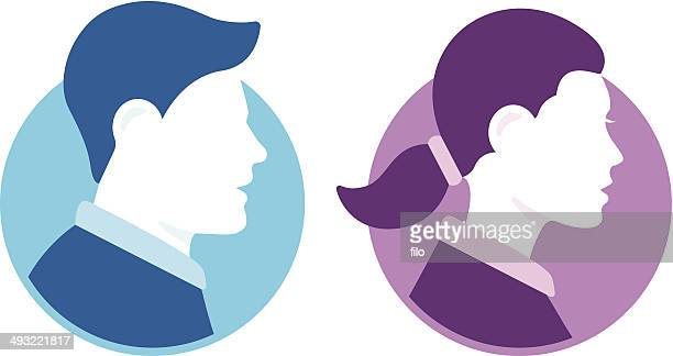 people avatars - side view stock illustrations