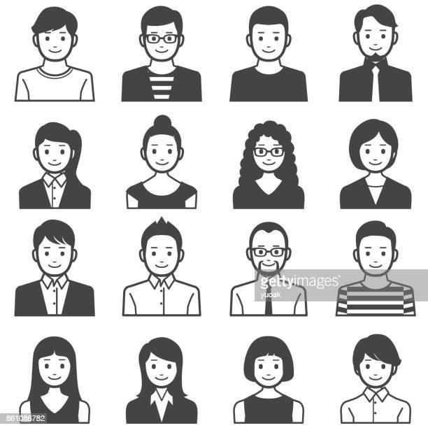 people avatars - males stock illustrations