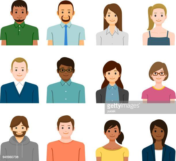 people avatars - human face stock illustrations
